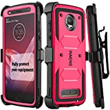 Innens Compatible Moto Z2 Force/Z Force 2017 / Moto Z2 Play Case, Hybrid Heavy Duty Anti-Scratch Shockproof Protective Case with Kickstand Belt Clip Compatible Moto Z2 Play (Rose Red)