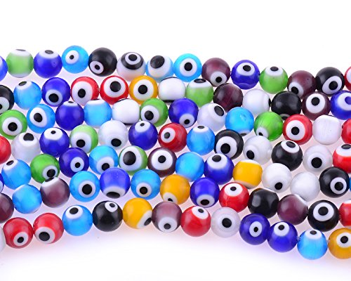 Glass Evil Eye Necklace (10mm 200 Pcs Evil Eye Glass Beads Assorted Colors of Jewelry Findings for Bracelet ,Necklace or Others)