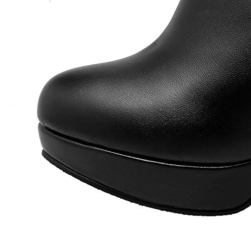 Women's Toe Black Boots GMDXB124617 High Heels AgooLar Pu Solid High Round Thigh dZxE7w