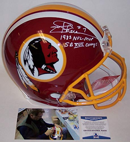 Joe Theismann Autographed Hand Signed Washington Redskins Full Size Authentic Pro Football Helmet - with 1983 NFL MVP & SB XVII Champs Inscriptions - BAS Beckett ()