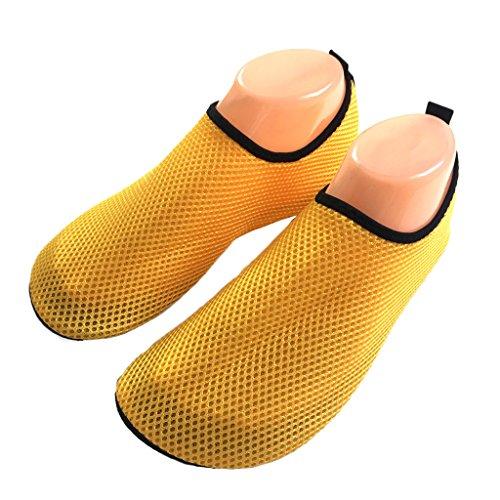 leicht HYSENM Netz antirutsch Strandschuhe Haus Schwimmen Gelb aus für Unisex Strand luftig Yoga Barfußschuhe 1wgw4R