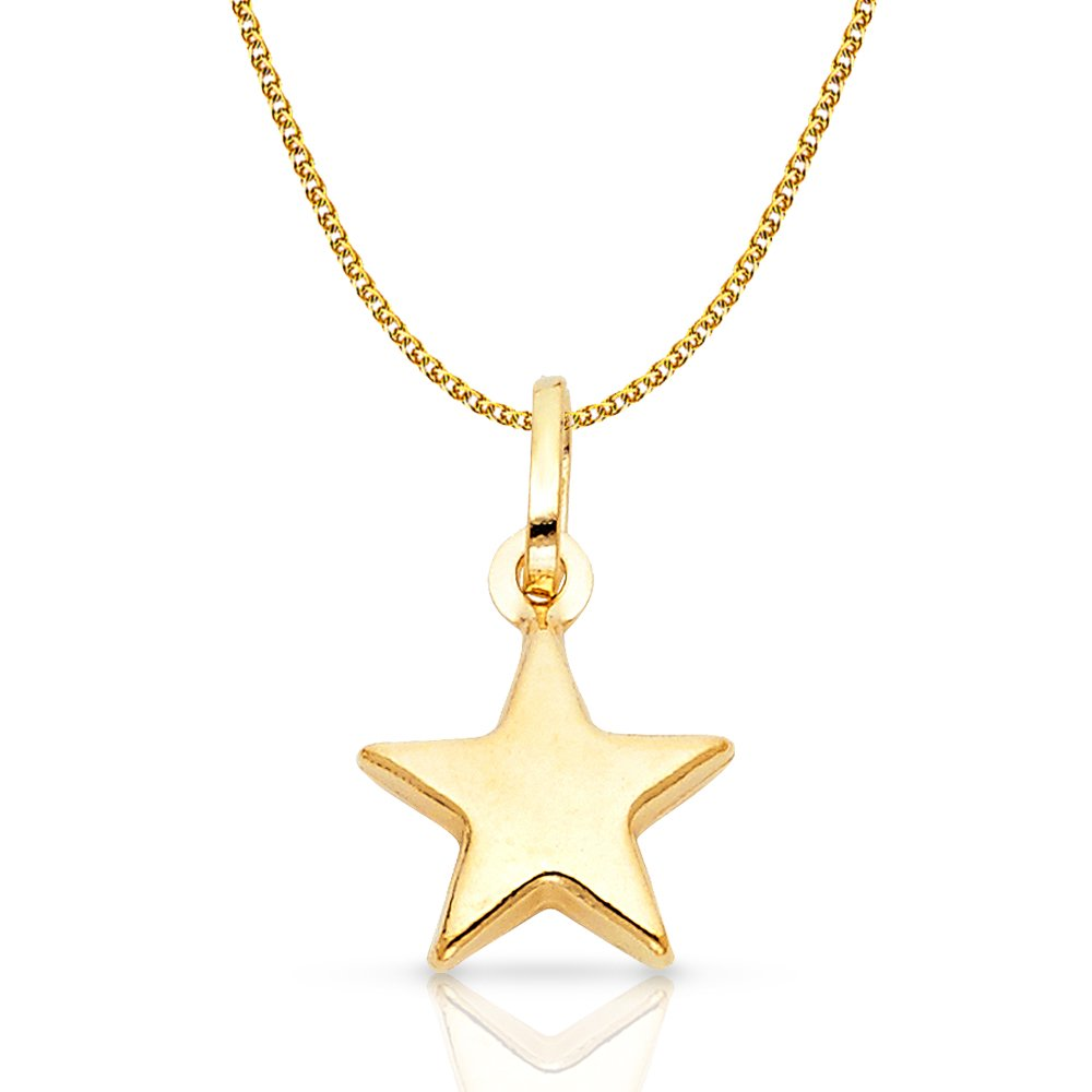 14K Yellow Gold Plain Star Charm Pendant with 1.2mm Flat Open Wheat Chain Necklace