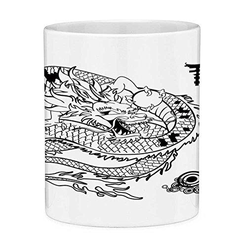 Lead Free Ceramic Coffee Mug Tea Cup White Japanese Dragon 11 Ounces Funny Coffee Mug Tattoo Art Style Mythological Dragon Figure Monochrome Reptile Design Black White