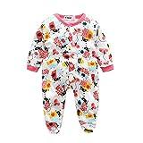 BOOMJIU Unisex Babys Footed Sleeper Pajamas Cartoon Print Romper Jumpsuit Long Sleeved Bodysuit Red