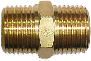 """Nigo Industrial Co. Forged Brass Pipe Fitting, Hex Nipple (1/2"""" NPT Male Pipe x 1/2"""" NPT Male Pipe)"""