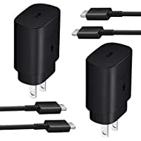 Super Fast Type C Charger Kit,2-Pack PD 25W Fast Charger and 5-ft USB C to USB C Fast Charging Cable for Samsung Galaxy…