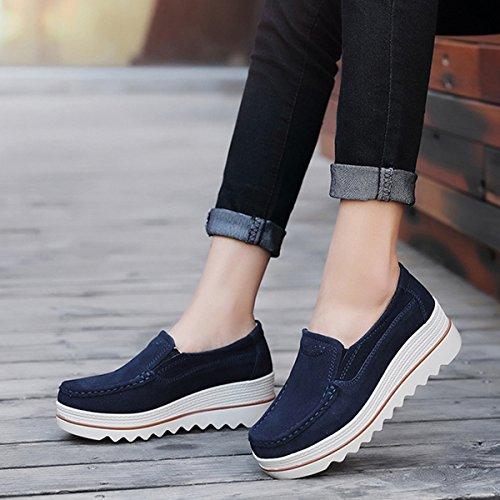 Zeppa Scamosciati Soft Low Rocker Ups Women Scarpe Top On Blu Shape Shoes Comfort Mocassini Platform Wide Sneakers Slip Toning Gracosy zTq0gZYZ