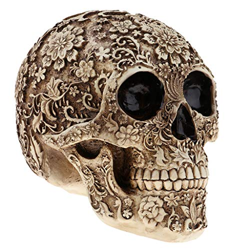 Prettyia Halloween Resin Craft Skull Head Statues & Sculptures Figurine Garden Ornaments Creative Art Carving Statue -