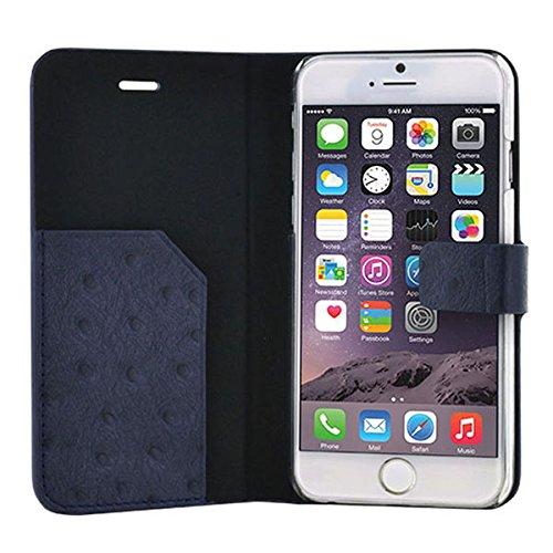 """BigBen BC313335 Leder Klapp-Etui """"Ostrich"""" für Apple iPhone 6 in blau"""