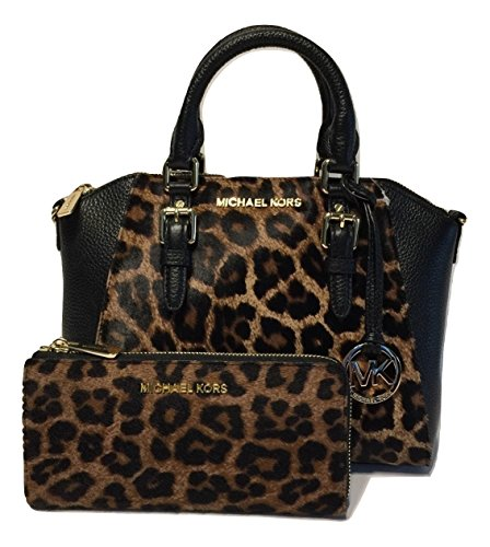 MICHAEL Michael Kors Ciara MD Messenger Handbag bundled with Michael Kors Bedford Zip Wallet (Leopard Haircalf)