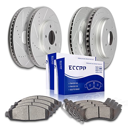 ECCPP 4pcs Discs Brake Rotors and 8pcs Ceramic Pads Brake Kit for 2003-2011 Ford Crown Victoria,2003-2010 Mercury Grand Marquis,2003-2004 Mercury Marauder