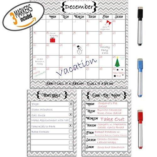 Kueche Monthly Weekly Planner and Daily To Do List Dry Erase Magnetic Whiteboard with Marker Set by Kueche