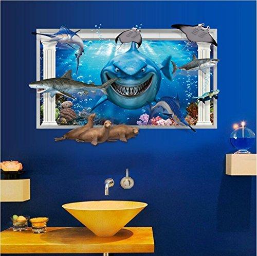 Home Wing 3D window Sea World Shark Vivid Marine Animals (Pvc Animal)