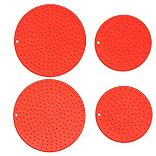 Extra Large, Extra Thick Silicone Trivet Mat Set For Hot Dishes,Pots and Pans, Kitchen Hot Pads for Countertop and Table, Silicone Pot Holders, 2 Extra Large and 2 Regular Sizes S/4 (Scarlet Red)