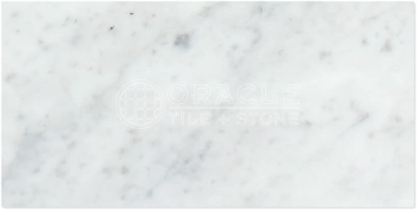 "Carrara White Italian (Bianco Carrara) Marble 12 X 24 Field Tile (2 pcs. 3"" X 6"" Sample Set, Honed)"