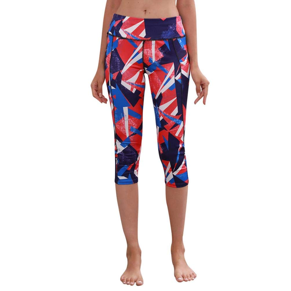 vermers Clearance Women High Waist Pocket Print Sports Yoga Fitness Leggings Women Casual Calf Length Pants