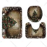 Diconna Fashion Christmas Print Decorations 3pcs Toilet Seat Covers Bathroom Rug Mat Set (Tree)
