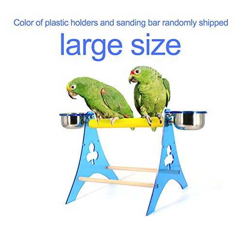 Mokook Parrot Stand Feeder with Frosted Bar for Macaw African Greys Budgies Parakeet Cockatiel Cockatoo Conure Lovebird Standing Scratching Feeding, Acrylic Stand Frame Tripod Design