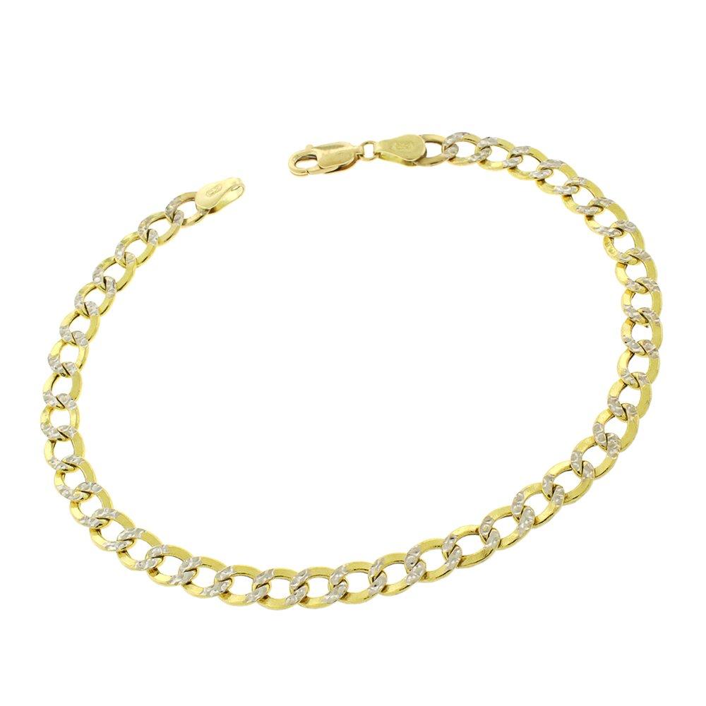 14k Yellow Gold 5mm Hollow Cuban Curb Link Diamond Cut Two-Tone Pave Bracelet Chain 8''
