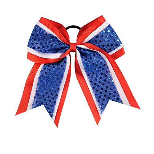 Girls Sequin Premium Grosgrain Ribbon USA Cheer Hair Bow July 4th (Red/White/Blue) ()