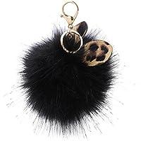 AutumnFall Keychain,2017 Cute Rabbit Fur Ball Keychain Simulation Car Ornaments Key Chain Key Ring Fashion Pendant Gift (Black)