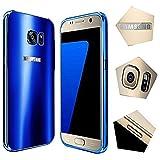 For samsung galaxy s7 Case,JUN-Q® Luxury Air Aluminum Metal Bumper Detachable + Scrub Hard Back Case 2 in 1 protect cover for samsung galaxy s7(Blue)