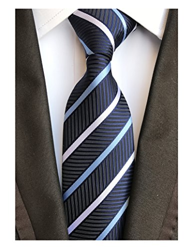 (Men Stripe Navy Blue and White Jacquard Tie Formal Necktie For Big Boy Youth Son)
