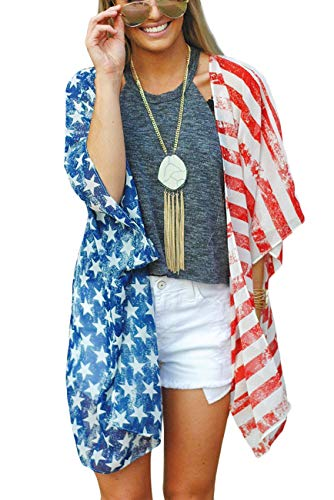 4th of July Womens American Flag Print Kimono Cardigan Beach Cover Up X-Large USFLAG