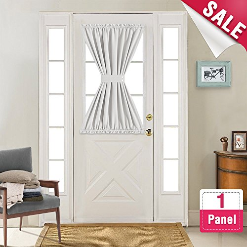 (French Door Curtains Blackout White French Door Curtain Panels 40 inch Length Room Darkening Thermal Insulated Glass Door Curtains with Bonus Tieback, Sold Individually, Greyish)