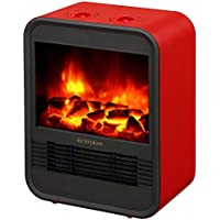 RICHFLAME Ada Portable Electric Fireplace Heater Stove, 9 inch, 1250W, Red