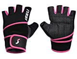"SEEU WOD Gloves Womens with 17.5"" Wrist Wrap Support, Pink M"