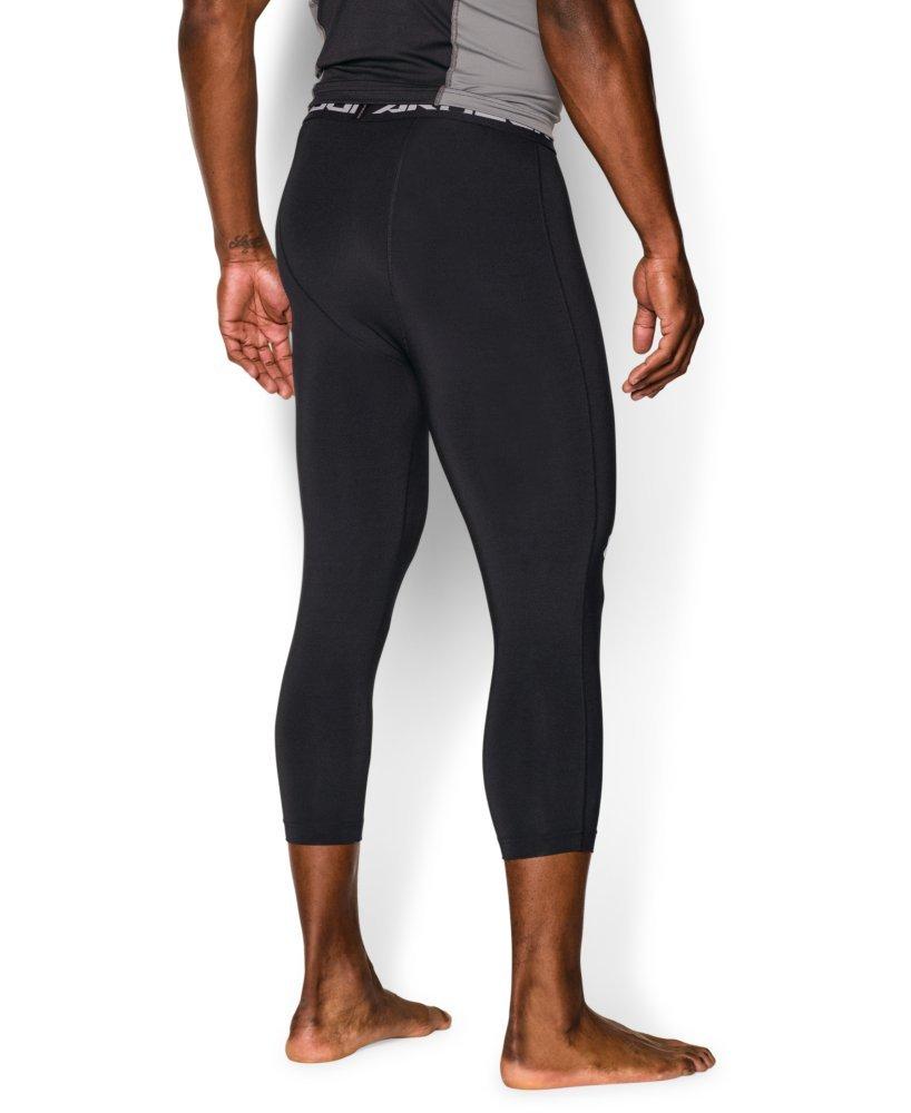 Under Armour Men's HeatGear Armour ¾ Compression Leggings, Black /White, XX-Large by Under Armour (Image #2)
