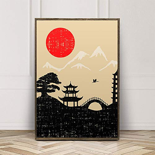 walldekor Japanese Style Oriental Art Print Poster Canvas Wall Art Picture, Unframed, for Home Decor (color2, 20x30 inch)