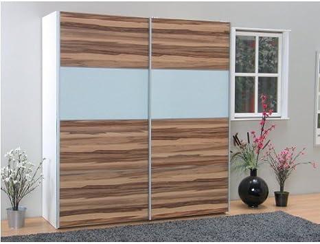 Verona - Armario ropero de madera de nogal con puertas correderas, color blanco: Amazon.es: Hogar