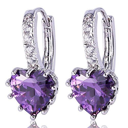 Leverback Purple Earrings (GULICX Heart shape White Gold Tone Amethyst Color Purple leverback hoop earrings)