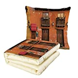 Quilt Dual-Use Pillow America Cartagena Streets with Vibrant Color Building Facade Caribbean Landscape Columbia Decorative Multifunctional Air-Conditioning Quilt Orange Brown