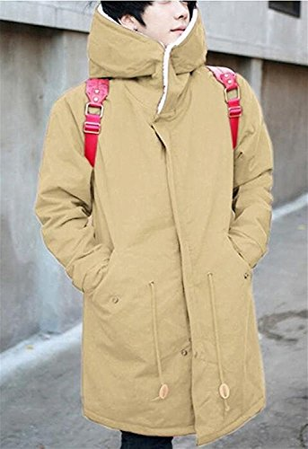 LOKOUO Men's Winter Fleece Drawstring Hooded Cotton Long Parka Coat KhakiUS-S