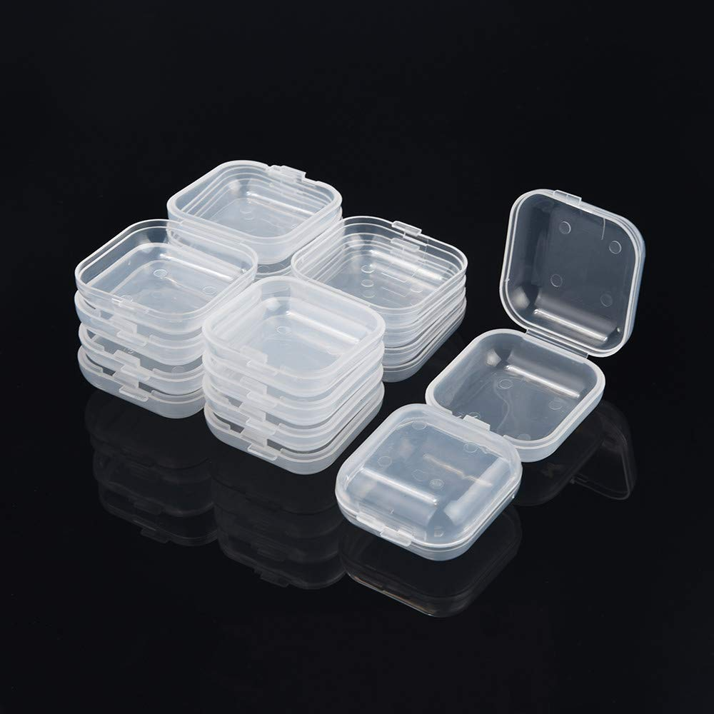 Tuscom 10pcs Portable Transparent Flip Small Storage Box,18 x 35 x 35 mm for Jewelry Decorative Box (Clear) by Tuscom@ (Image #1)