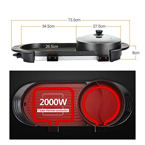 Uttiny Portable Electric Grill, 2000W Electric Indoor and Ourdoor Shabu Shabu Hot Pot with Barbecue Medical Stone Non-Stick Pan for 2-12 People Gatherings by Uttiny (Image #5)