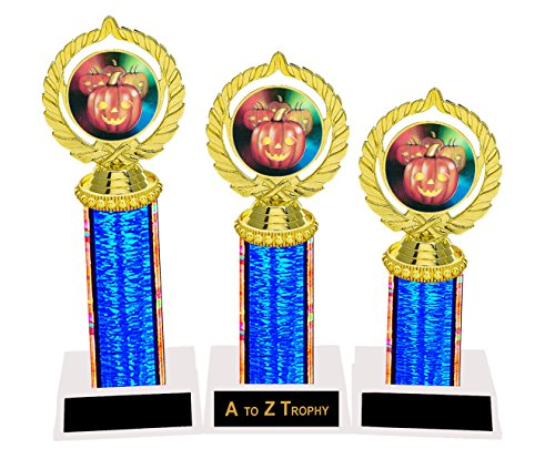 Halloween Trophy Trophies 1st 2nd 3rd Place Costume Contest Pumpkin Carving Awards Free Engraving Color Choice for $<!--$39.00-->