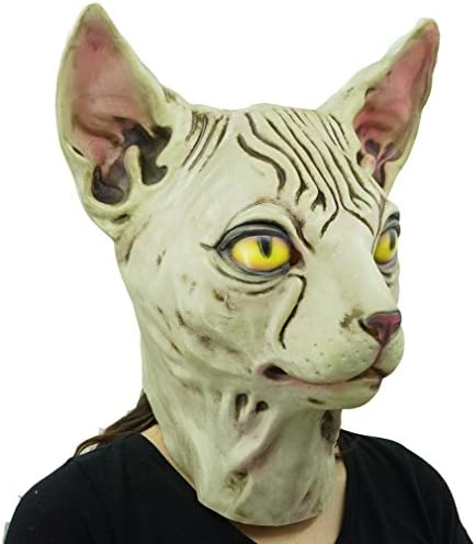 Hairless cat Latex Mask Funny Animal Hood Halloween Costume Party Decorations 19
