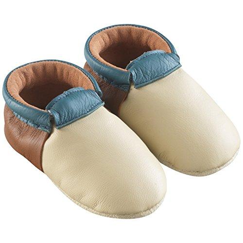 Tichoups chaussons bébé cuir souple ticolo beige - camel - bleu
