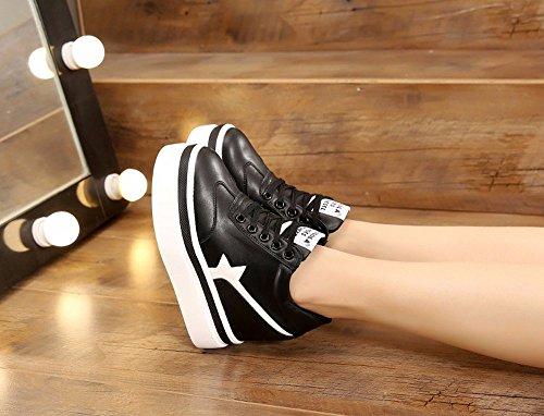 Ajunr Moda 10 cuero cm zapatos Sandalias Transpirable elegante elegante Sandalias Moda corbata de Transpirable aumento zapatos esponja suela Ajunr de alto black gruesa tacon ocio costura qHFxnP