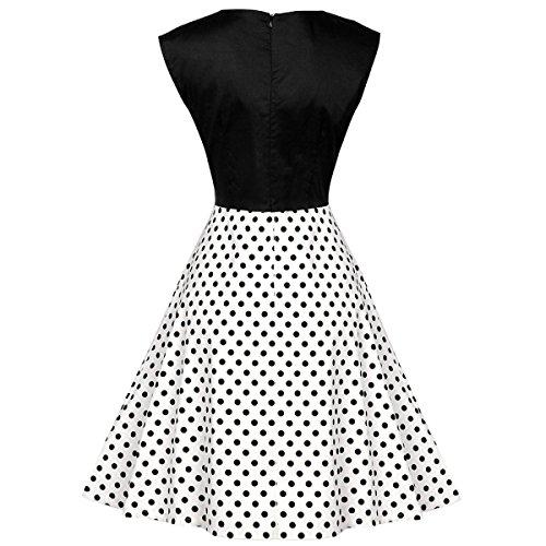 Vestido Mujeres 's Sin Mangas Vestido De La Cintura Retro Dots