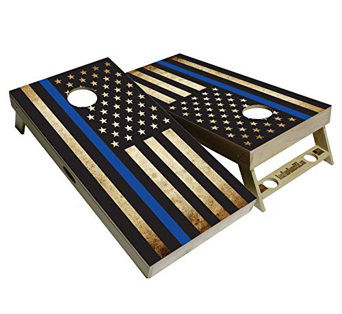 BackYardGamesUSA American Flag Series - Premium Cornhole Boards w Cupholders and a Handle - Includes 2 Regulation 4' x 2' Cornhole Boards w Premium Birch Plywood and 8 Cornhole Bags (Blue Lives Flag) (Best Plywood For Cornhole)