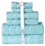 HILLFAIR 600 GSM 100% Cotton 6 Piece Bath Towel Set, Luxury Soft Hotel Spa Quality Towels; 2 Bath Towels, 2 Hand Towels, 2 Washcloths, Long-staple Combed Cotton (Sky Blue, PACK OF 6)