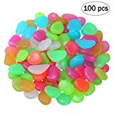 OUNONA Glow in the Dark Pebbles Luminous Cobblestones Pebbles Stones Glow in the Dark Aquarium Fish Tank Garden Yard Decorations (Mixed Color)