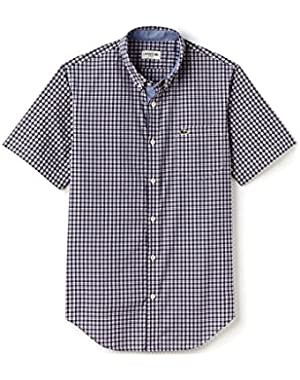 Lacoste Men's Men's Blue Check Cotton Poplin Shirt in Size L Blue