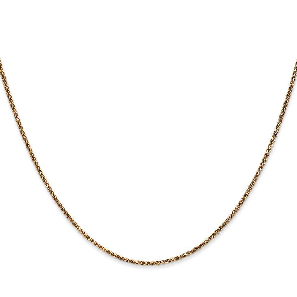 6 inches Wheat 14K Yellow Gold 1.20MM Diamond-Cut Spiga Link Bracelet