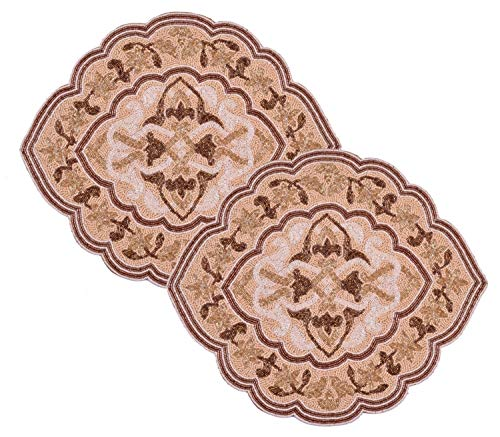 Decozen Embroidered Beaded Placemat Set of 2 Satin Back Quatrefoil Placemats Ivory and Gold Beads Decorative Placemats for Dining Table For Indoor and Outdoor Dining 18.5 x 15 - Beads Quatrefoil